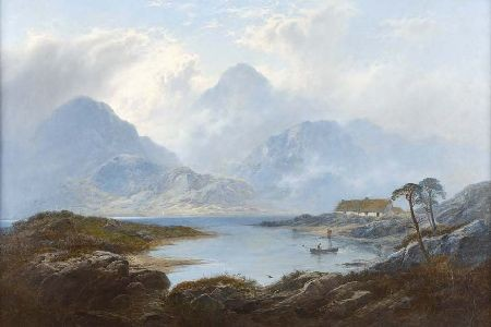 GEORGE BLACKIE STICKS (1843-1938) IN THE HIGHLANDS 61cm x 91cm (24in x 36in)