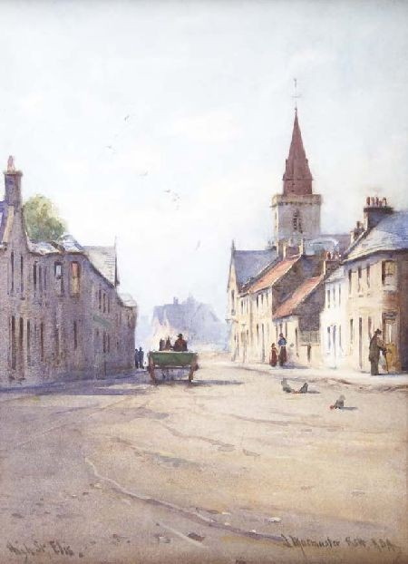 JAMES MACMASTER R.S.W., R.B.A. (1856-1913) HIGH STREET, ELIE 33cm x 23cm (13in x 9in)