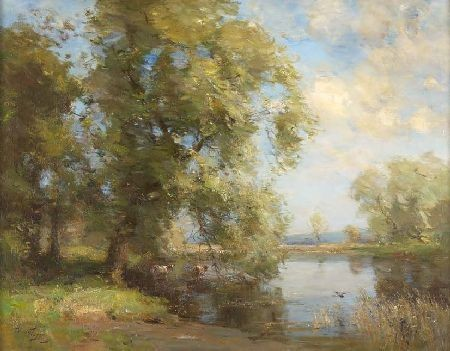 WILLIAM MILLER FRAZER R.S.A (1864-1961) ON THE RIVER BANK 70cm x 90cm (28in x 36in)