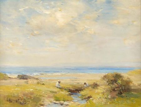 WILLIAM MILLER FRAZER R.S.A (1864-1961) ON THE SEA-SHORE 45cm x 60cm (18in x 24in)