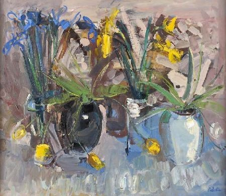 JAMES FULLARTON (B.1946) STILL LIFE OF TULIPS AND IRISES 91cm x 106cm (36in x 42in)