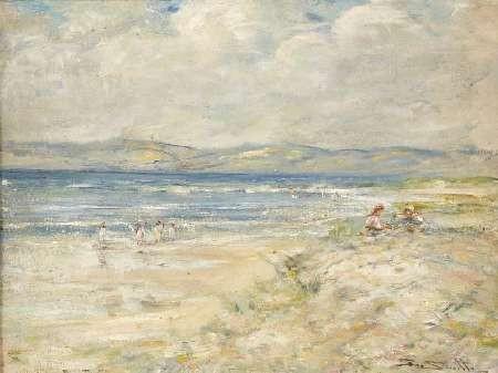 GEORGE SMITH R.S.A (1870-1934) ON THE BEACH 40cm x 40cm (12in x 16in)
