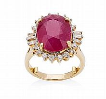 A ruby and diamond set ring Ring size: J