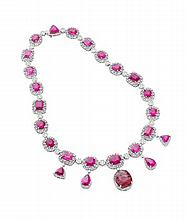 A diamond and rubellite necklace Length: 44cm, Estimated total rubellite weight: 77.83cts