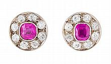 A pair of ruby and diamond cluster earrings 1.45cm x 1.1cm