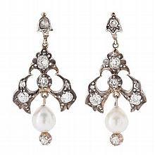 A pair of cultured pearl and diamond set ear pendants Length: 4.1cm