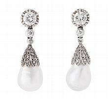 A pair of diamond and cultured pearl ear pendants Length: 3.4cm