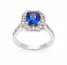 An Art Deco style sapphire and diamond set cluster ring Length of cluster: 1.25cm, Estimated sapphire weight 1.66cts