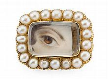 A pearl set lover's eye brooch Length: 2.2cm