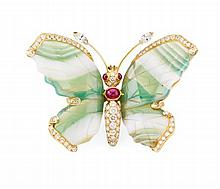A multi-gem set butterfly pendant 55mm x 40mm