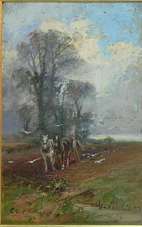 CHARLES GUSTAV LOUIS PHILLIPS (SCOTTISH 1863-1944) PLOUGHING IN MARCH 22cm x 15cm (8.5in x 6in)