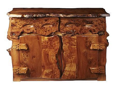 TIM STEAD (1952-2000) ELM AND BURR ELM SIDEBOARD, CIRCA 1990 128cm wide, 93cm high, 48cm deep