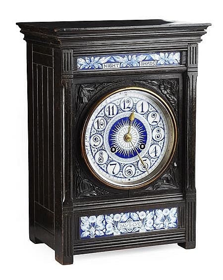 LEWIS F. DAY (1845-1910) FOR HOWELL & JAMES ELKINGTON & CO EBONISED MANTED CLOCK, CIRCA 1880 39cm high