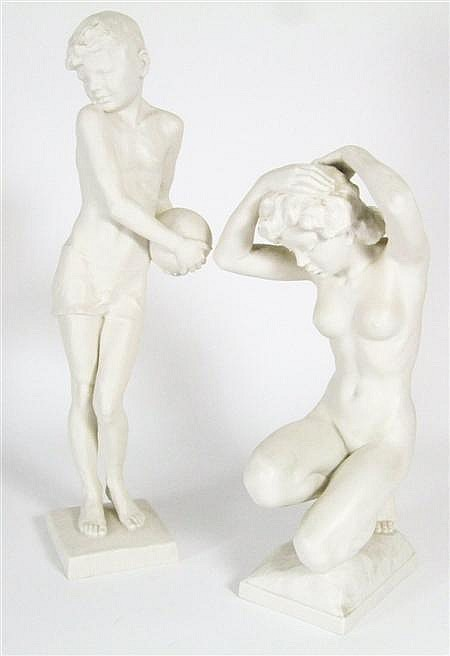 KARL TUTTER (1883-1969) FOR HUTSCHENREUTHER TWO BISQUE FIRED PORCELAIN FIGURES, CIRCA 1920