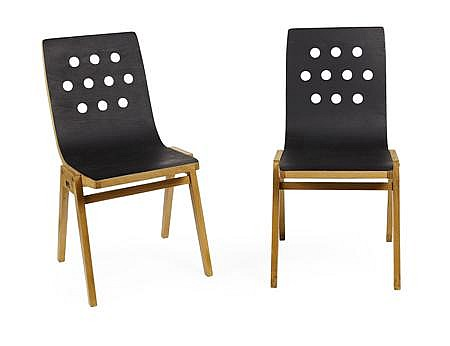 ROLAND RAINER (1910-2004) FOR THE WIENER STADTHALLE PAIR OF STACKING CHAIRS, MANUFACTURED BY E. & A. POLLACK, CIRCA 1951