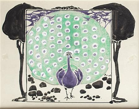 CARTON MOORE-PARK (1877-1956) BACK COVER DESIGN FOR BOOK OF BIRDS, 1899 13cm x 16cm