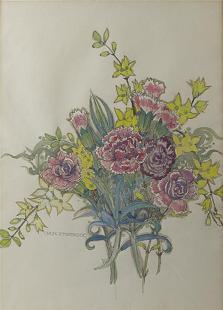 MARY NEWBERY STURROCK (1892 -1985) CARNATIONS 52cm x 37cm