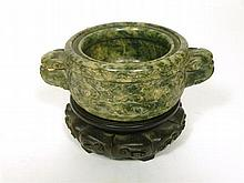 CHINESE CARVED HARDSTONE CENSER QING DYNASTY 15cm wide, 5.5cm high, 10cm deep
