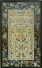 TWO PAIRS OF EMBROIDERED SLEEVE PANELS 49.5 x 30.5cm; 65.5 x 33.5cm including frames