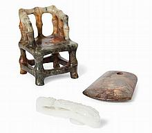 CHINESE CARVED HARDSTONE MINIATURE CHAIR