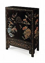CHINESE LACQUER CABINET 87cm high, 128cm high, 43cm deep
