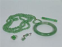 COLLECTION OF GREEN JADE JEWELLERY