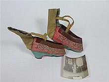 * PAIR OF CHINESE EMBROIDERED SILK SHOES shoes 12cm long approx.