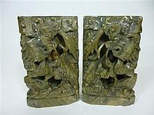 PAIR OF CHINESE GREEN SOAPSTONE BOOKENDS LATE QING DYNASTY / EARLY REPUBLIC 18cm high