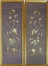 PAIR OF FRAMED CHINESE EMBROIDERED PANELS EARLY 20TH CENTURY 17cm wide, 48cm high (including frames)