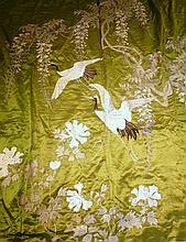 CHINESE EMBROIDERED SILK PANEL 210cm high; 168cm wide