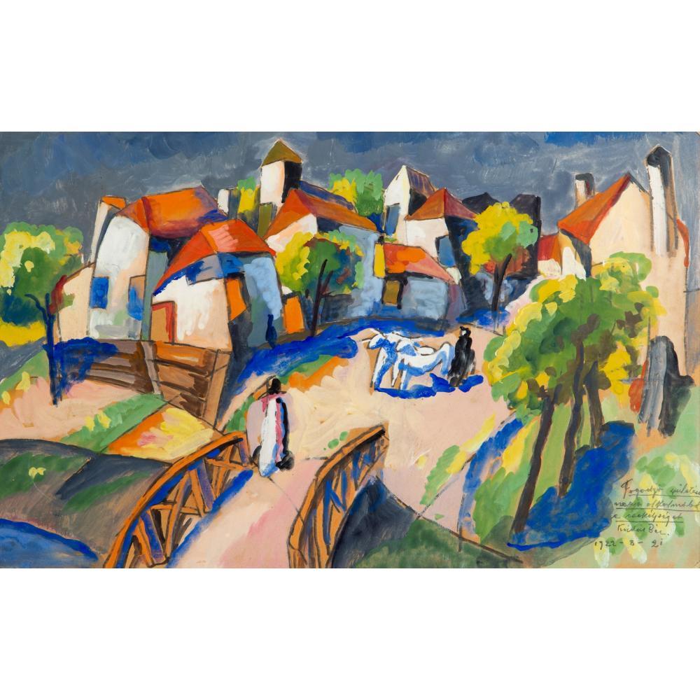 § Béla Kádár (Hungarian 1877-1956) Village Scene, 1922