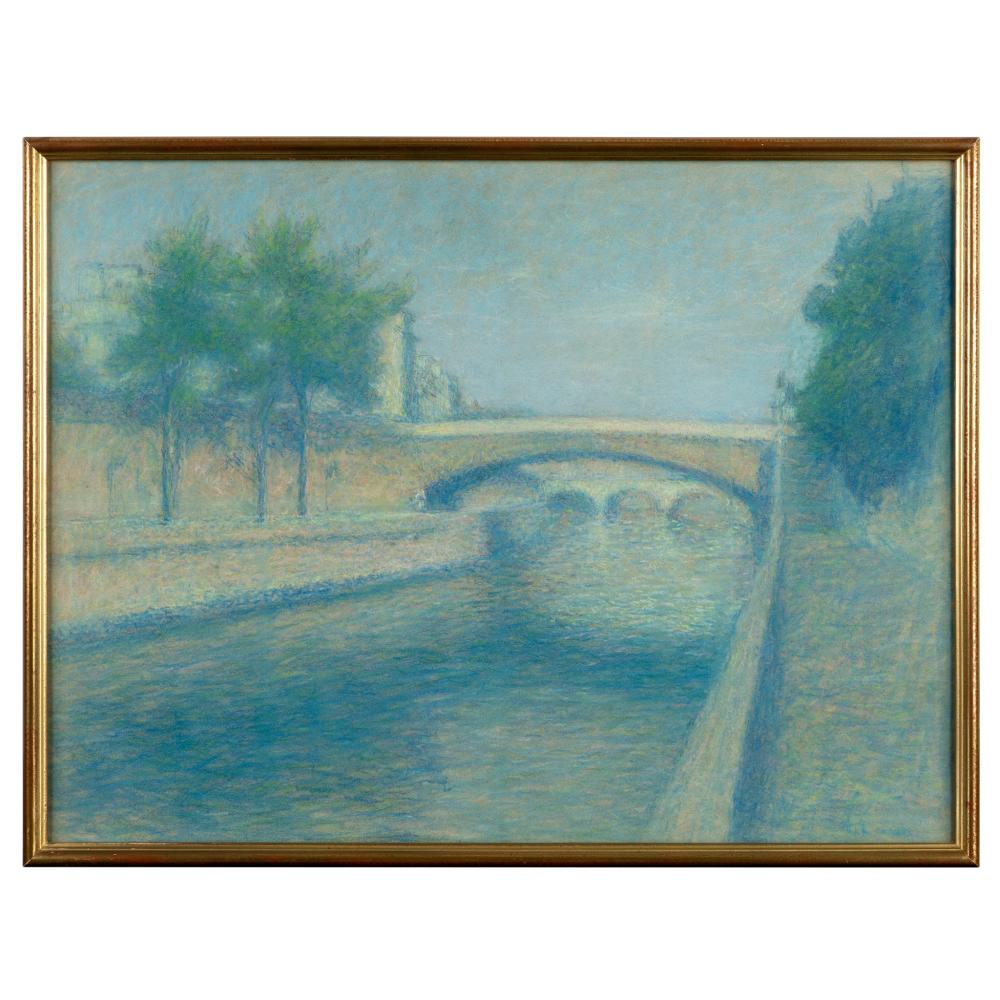 Achille Laugé (French 1861-1944) View of the Seine in Paris