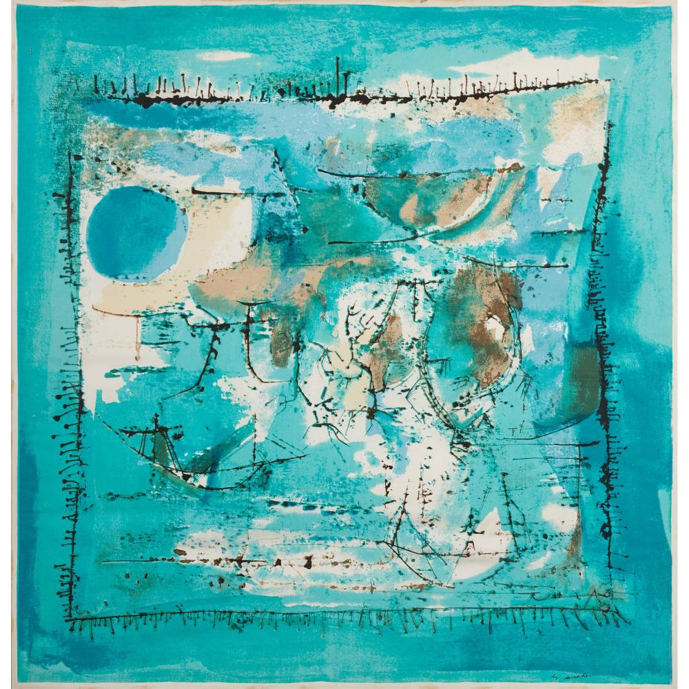 § Zao Wou-Ki (Chinese / French 1921-2013) for Ascher 'Paysage Bleu' Scarf / Square, designed 1955