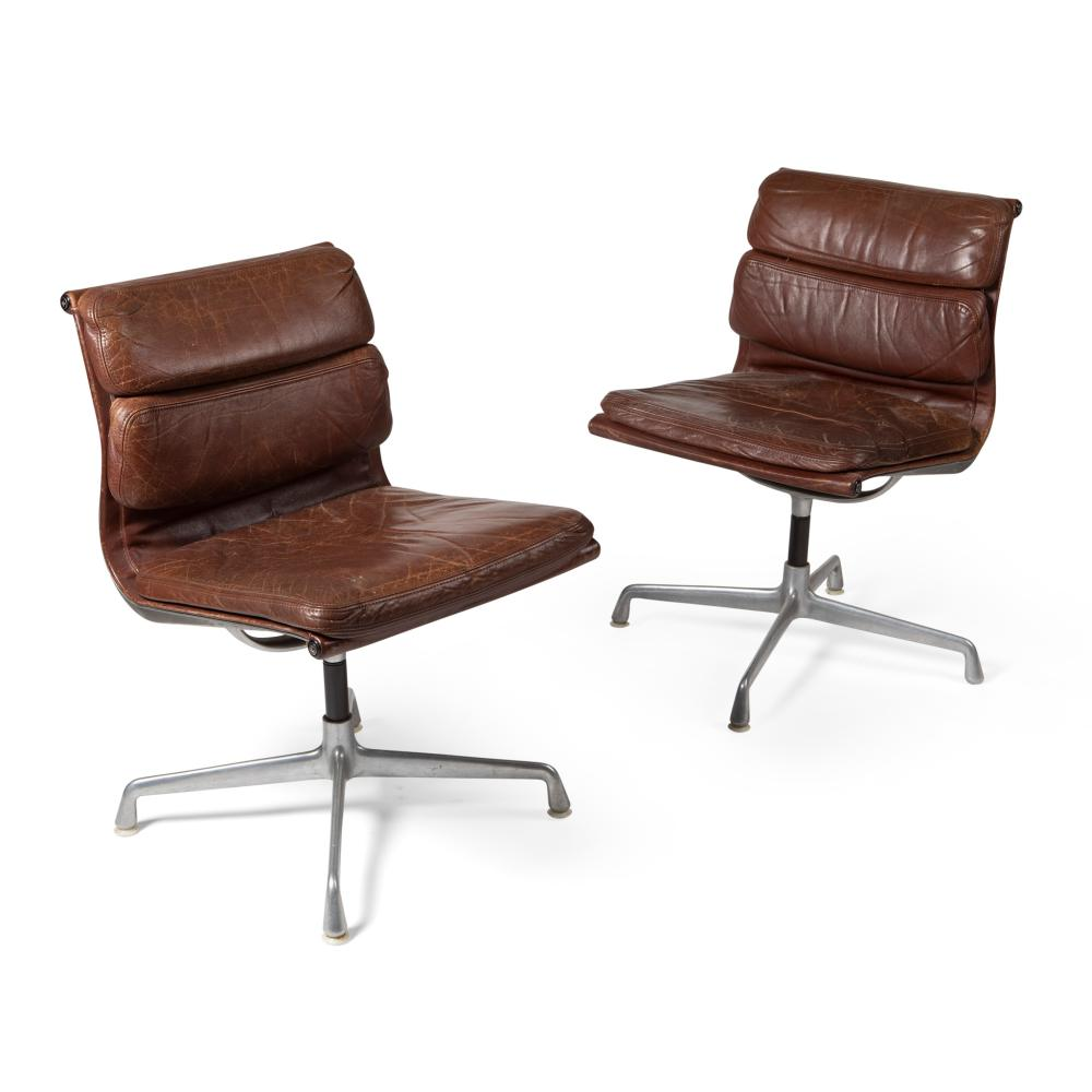 Charles and Ray Eames (American, 1907-1978, 1912-1988) for Herman Miller Pair of Soft Pad Chairs