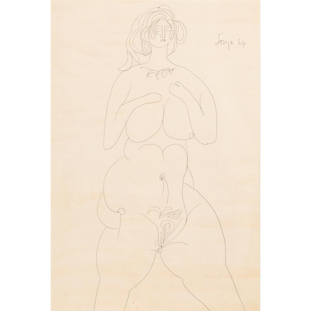 § Francis Newton Souza (Indian 1924-2002) Female Nude, 1964