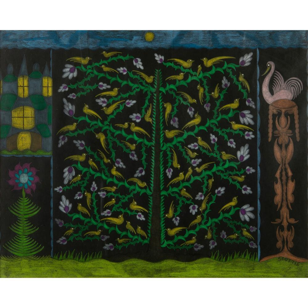 § Scottie Wilson (British 1890-1972) Birds & Flowers, 1958