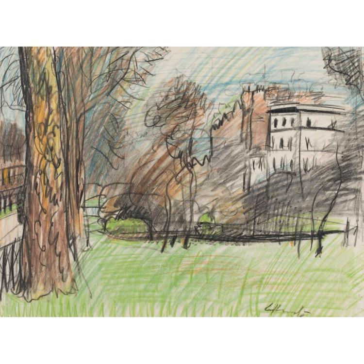 GEORGE LESLIE HUNTER (SCOTTISH 1877-1931) HYDE PARK 41cm x 56cm (16in x 22in)