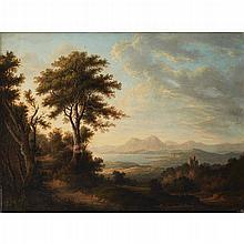 ALEXANDER NASMYTH (SCOTTISH 1758-1840) VIEW OF A HIGHLAND LOCH WITH A CASTLE 45cm x 63cm (17.75in x 24.75in)