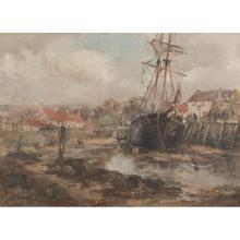 EUGENE DEKKERT (SCOTTISH FL.1899-1940) HARBOUR, ST. MONANS 55cm x 78cm (22in x 30.5in)