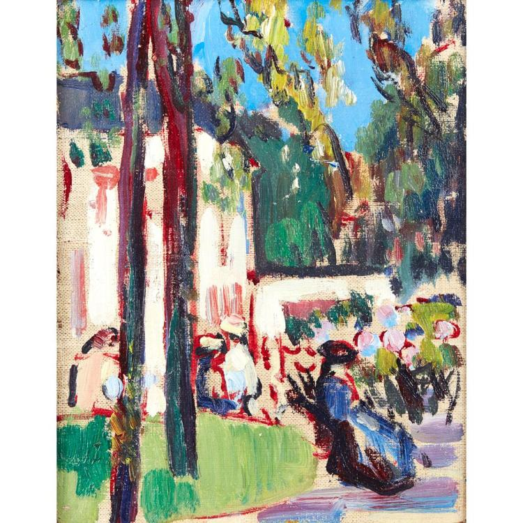 [§] JOHN DUNCAN FERGUSSON R.B.A. (SCOTTISH 1874-1961) WOMAN ON A BENCH 24cm x 19cm (9.5in x 7.5in)