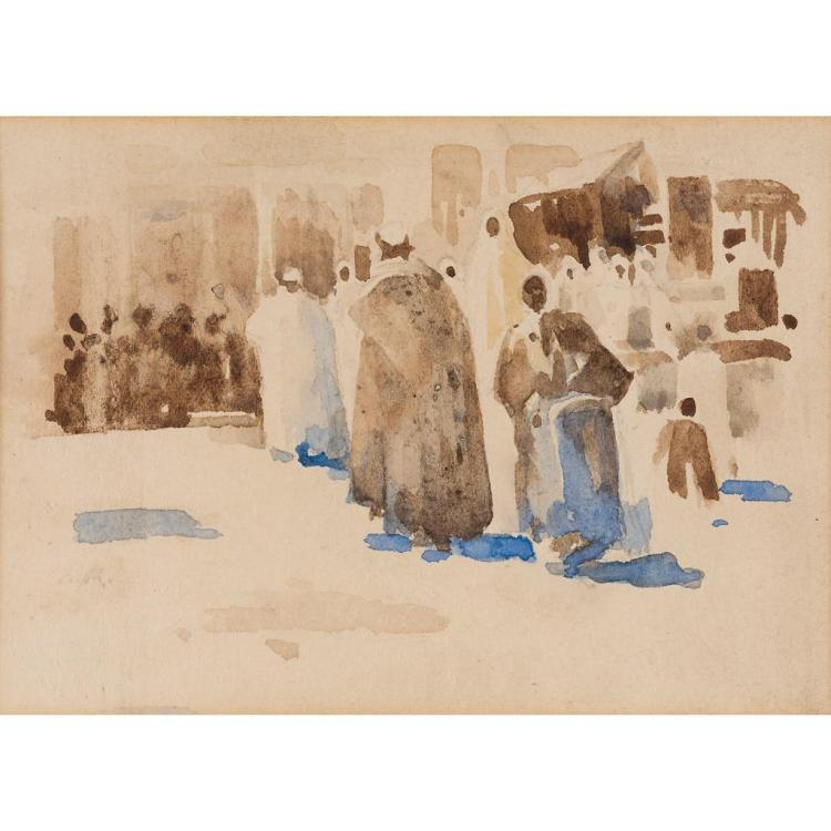 ARTHUR MELVILLE A.R.S.A. (SCOTTISH 1855-1904) A STREET SCENE IN TANGIER 12cm x 16cm (4.75in x 6.25in) and a companion similar 11.5cm...