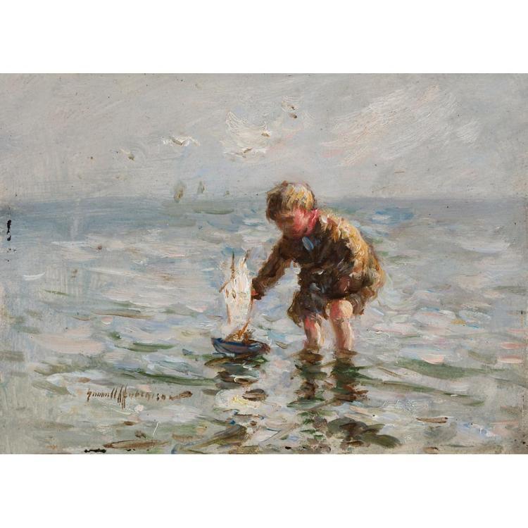 ROBERT GEMMELL HUTCHISON R.B.A., R.O.I., R.S.A., R.S.W. (SCOTTISH 1860-1936) BOY SAILING HIS BOAT 12.5cm x 17.5cm (5in x 7in)