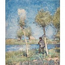 EDWARD ARTHUR WALTON R.S.A., P.R.S.W., H.R.W.S. (SCOTTISH 1860-1922) THE YOUNG FISHERMAN 36.5cm x 30.5cm (14.5in x 12in)