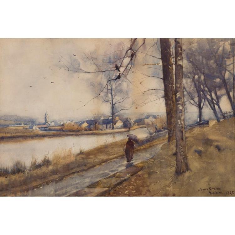 JAMES PATERSON P.R.S.W., R.S.A., R.W.S. (SCOTTISH 1854-1932) WINTER, MONIAIVE 34cm x 52cm (13.5in x 20.5in)
