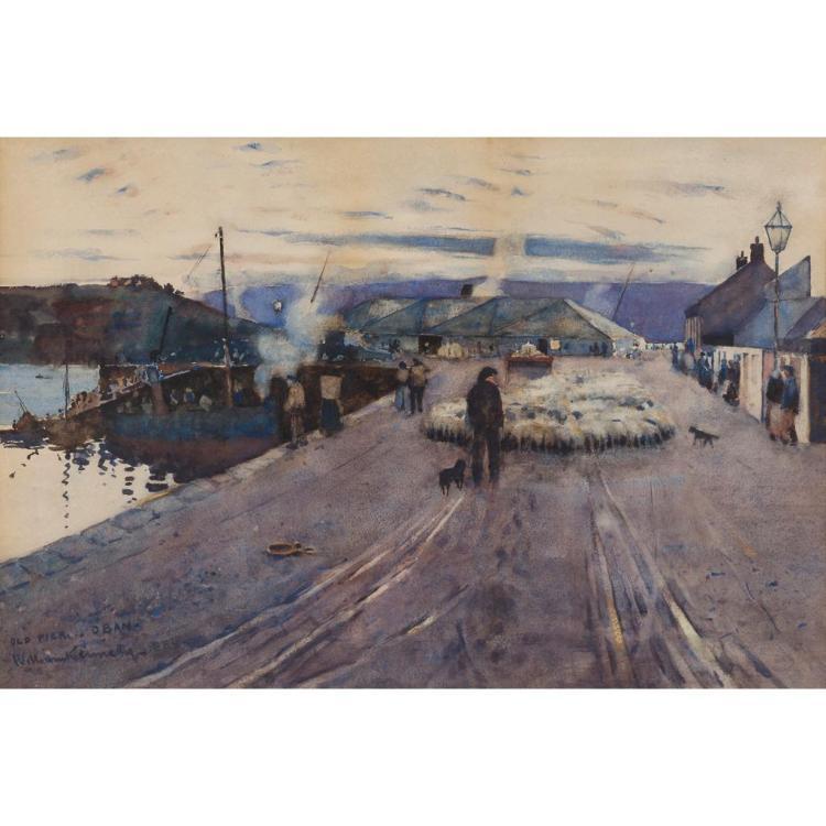 WILLIAM KENNEDY (SCOTTISH 1859-1918) OLD PIER, OBAN 34cm x 51cm (13.5in x 20in)