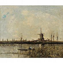 WILLIAM ALFRED GIBSON (SCOTTISH 1866-1931) A DUTCH RIVER LANDSCAPE WITH A FIGURE IN A PUNT 51cm x 61cm (20in x 24in)