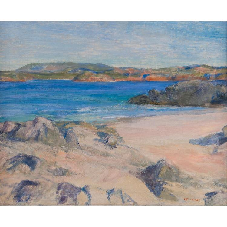 [§] WILLIAM MERVYN GLASS R.S.A. (SCOTTISH 1885-1965) EARLY EVENING, IONA 32cm x 41cm (12.5in x 16in)