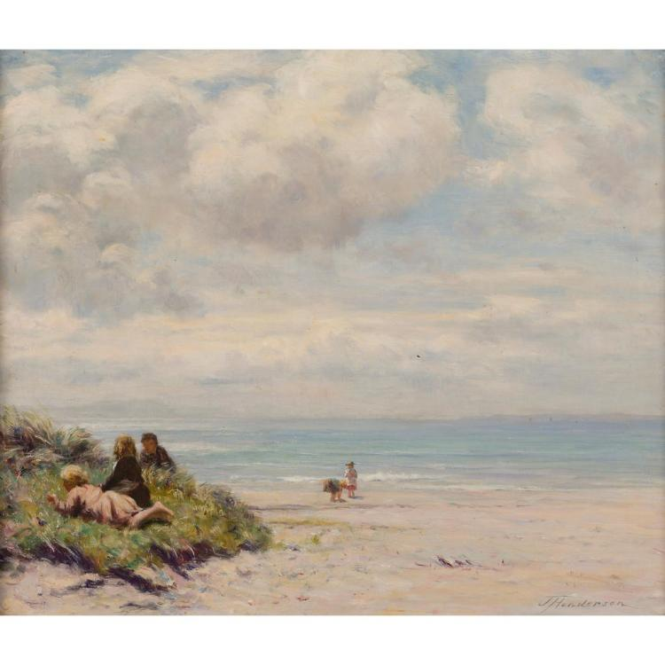 JOSEPH HENDERSON R.S.W. (SCOTTISH 1832-1908) ON THE BEACH 49.5cm x 59.5cm (19.5in x 23.5in)