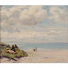 JOSEPH HENDERSON R.S.W. (SCOTTISH 1832-1908) ON THE BEACH 49.5cm x 59.5cm (19.5in x 23.5in)