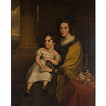 SIR FRANCIS GRANT P.R.A., R.S.A. (SCOTTISH 1803-1878) A FAMILY PORTRAIT OF MRS GEORGE KINNEAR AND HER DAUGHTER JANET 127cm x 102cm (...